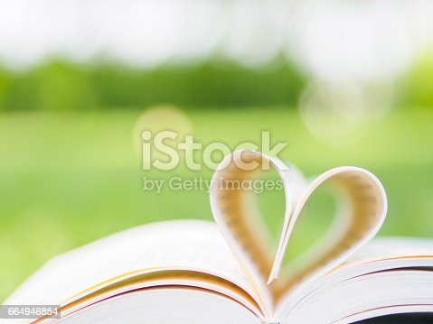 503130452istockphoto book on table in garden with top one opened and pages forming heart shape 664946854