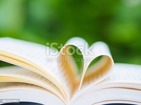 503130452istockphoto book on table in garden with top one opened and pages forming heart shape 664946962