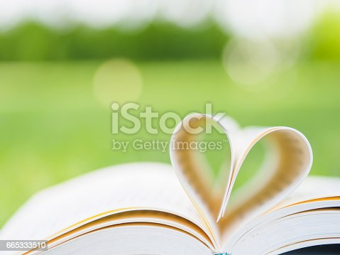 503130452istockphoto book on table in garden with top one opened and pages forming heart shape 665333510