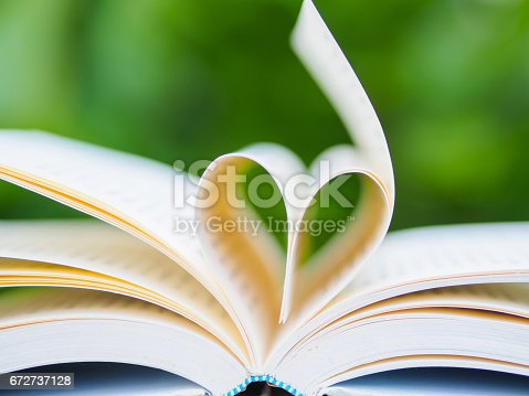 503130452istockphoto book on table in garden with top one opened and pages forming heart shape 672737128