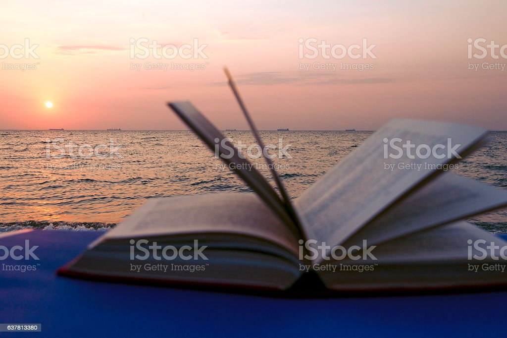 Book on the beach. Back to school. stock photo