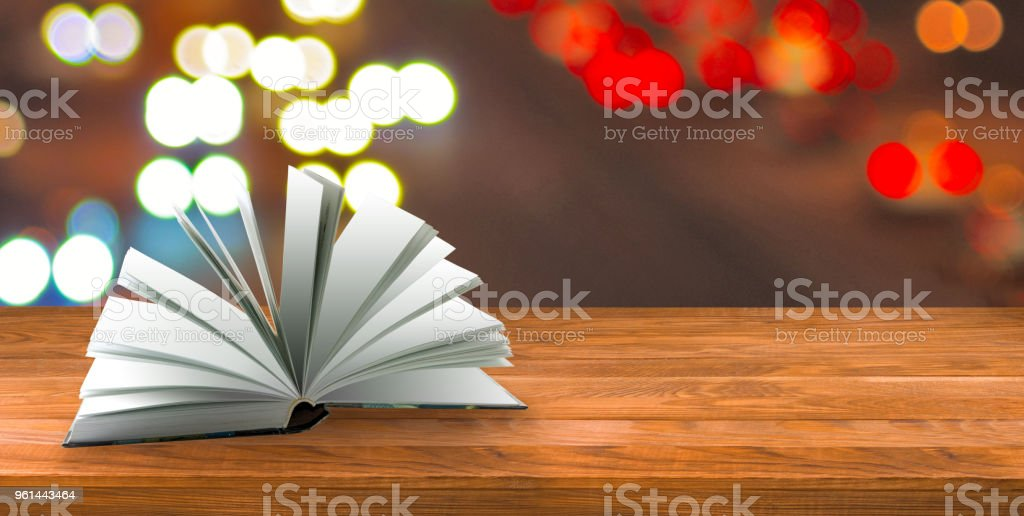 book on the desk on blurry background stock photo