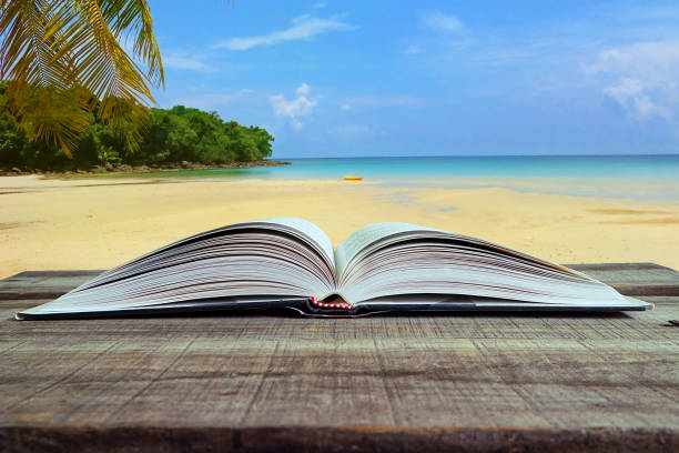 Book on wood table with beach background. stock photo