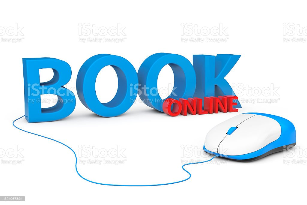 Book Online Sign with Computer Mouse. 3d Rendering stock photo