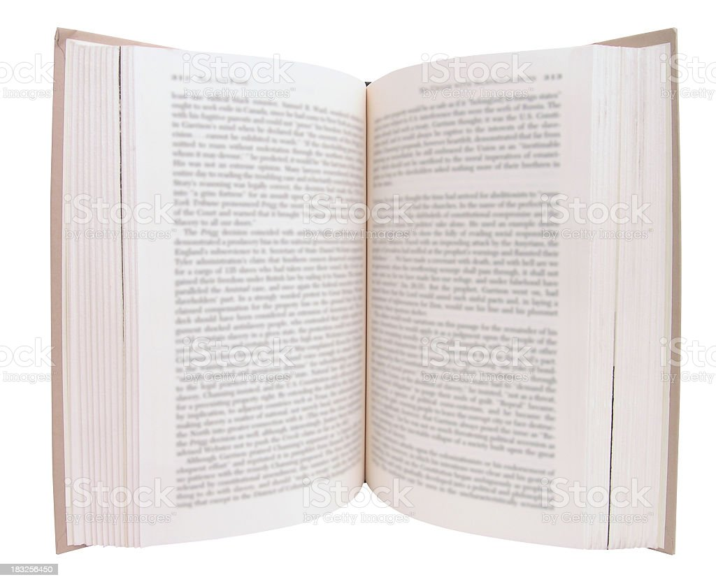 Book opened onto a page ready to read stock photo