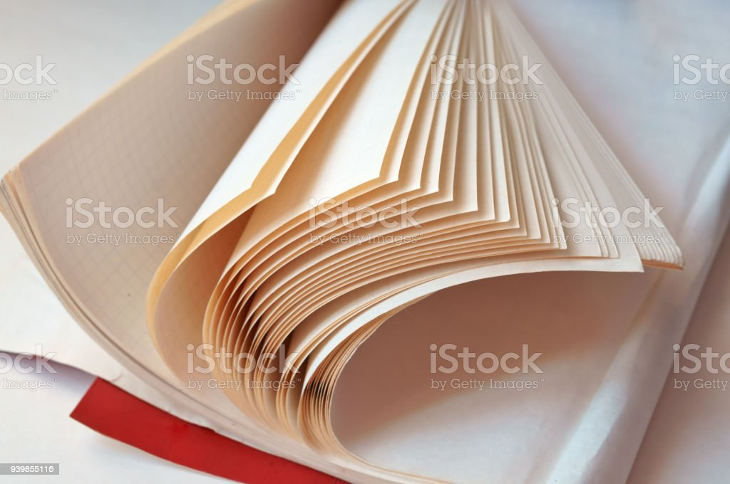 book pages, book in turn, white sheets of books with black letters stock photo