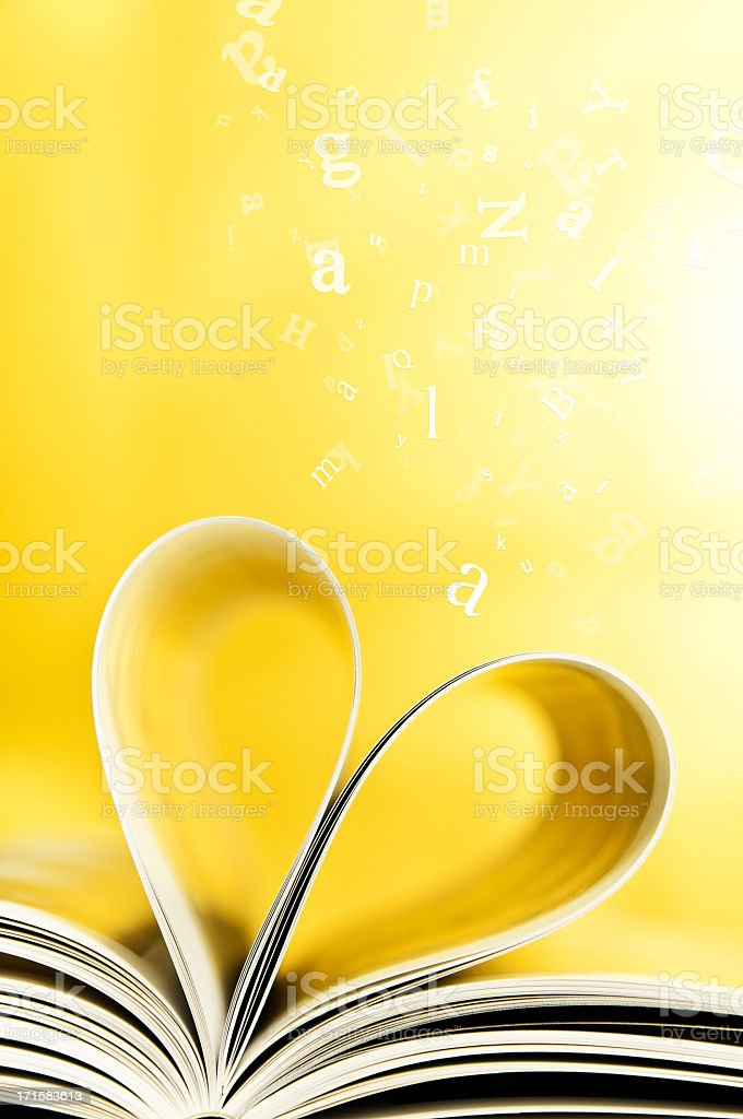 Book Pages Curled Into Heart Shape Flying Letters Yellow Background