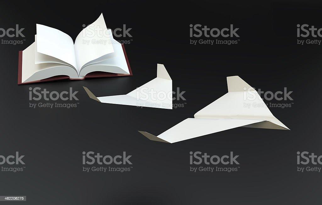 Buch-Seiten als Papier Flugzeuge fliegen – Foto