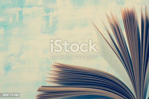 istock Book pages macro view. Toned image. Copy space for text 509174180