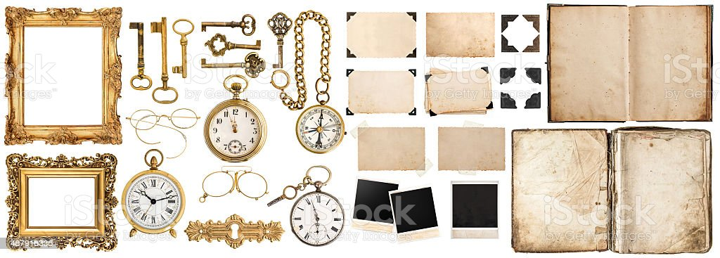 Book, photo frames with corner, golden accessories isolated on white stock photo