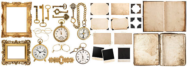 book, photo frames with corner, golden accessories isolated on white - photo corner stock photos and pictures