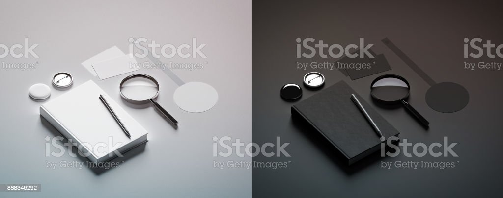 Book presentation black and white design mock up elements stock photo
