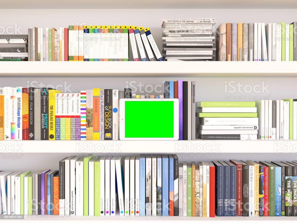 Conceitos de leitor do livro. Digital Tablet e livros com faixa tela verde - foto de acervo