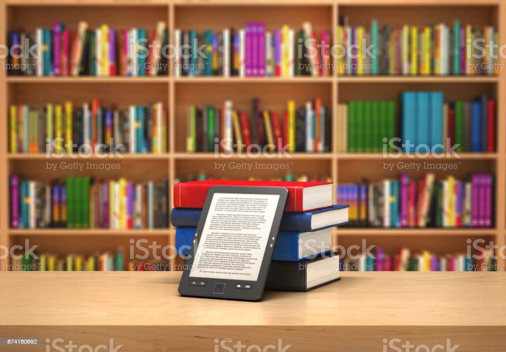 Book reader on the blurred background stock photo