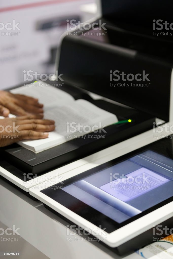 Book scanner stock photo