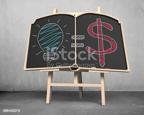 istock book shape blackboard on easel with doodles 499400073