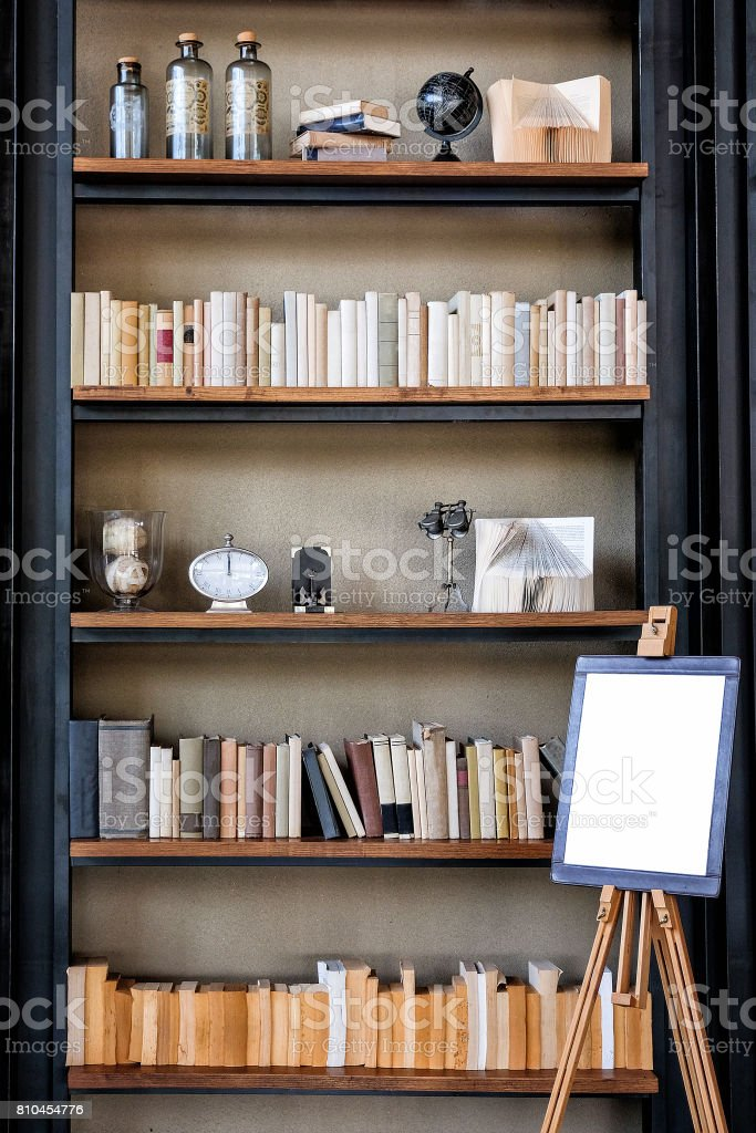 Book shelf wallpaper vintage style stock photo