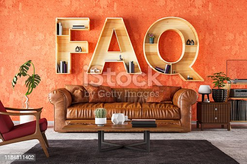 FAQ Book Shelf with Cozy Interior. 3d Render