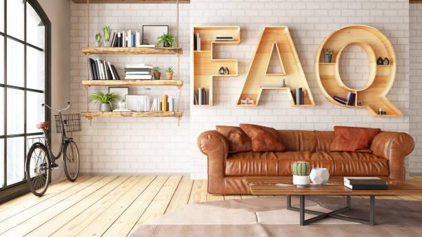 FAQ Book Shelf with Leather Sofa and Cozy Interior stock photo