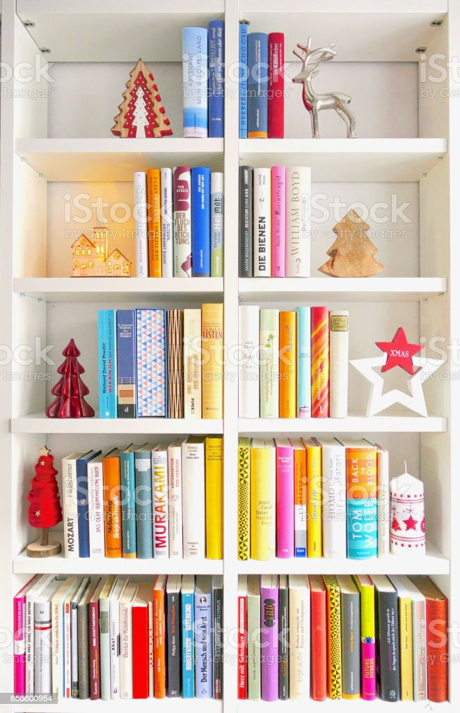 Book Shelves Filled In Form Of A Christmas Tree Royalty Free Stock Photo