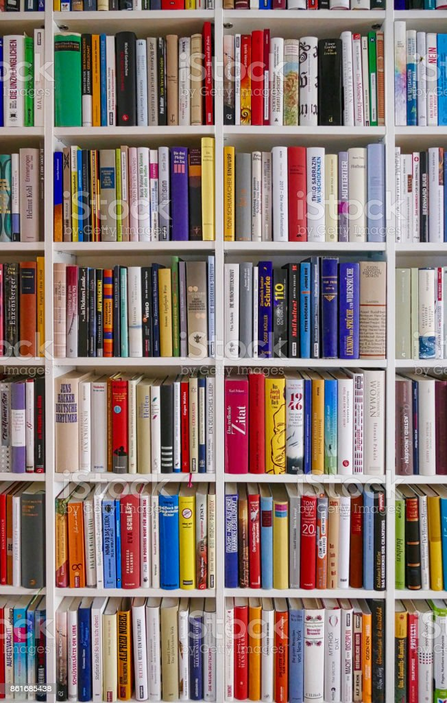 Book shelves filled with books stock photo