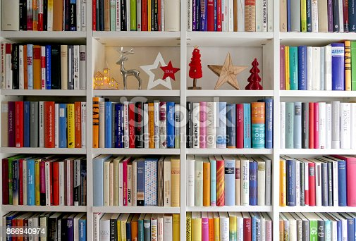 1057183432 istock photo Book shelves filled with some christmas ornaments 866940974