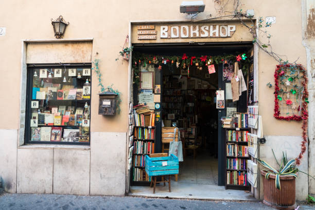 Book shop in Rome, Italy stock photo