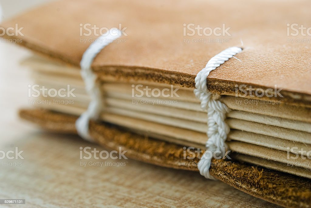 Book Spine with leather cover stock photo