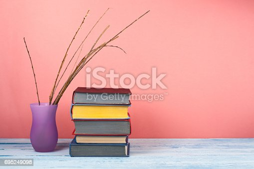 690360222 istock photo Book stacking. Open book, hardback books on wooden table and red background. Back to school. Copy space for text 695249098