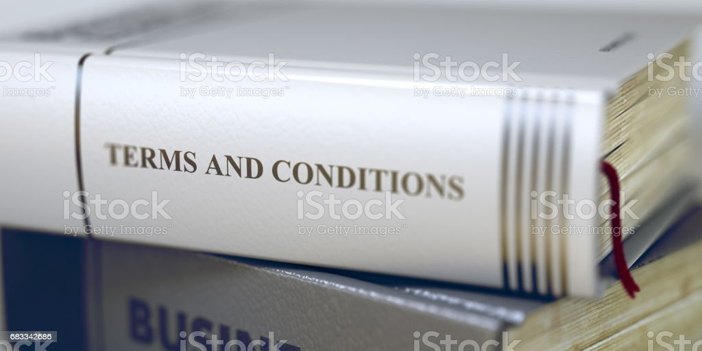 Book Title on the Spine - Terms And Conditions. 3D stock photo