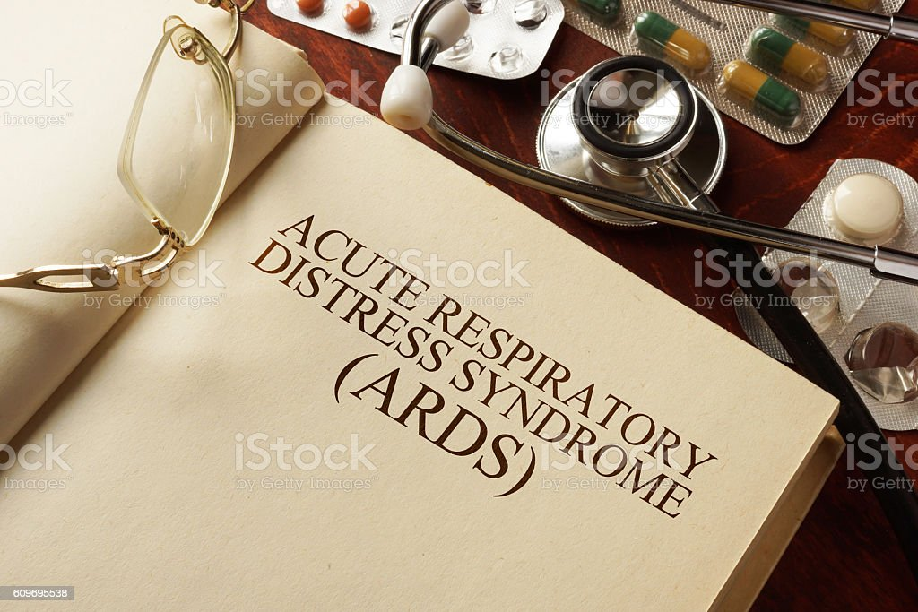 Book with diagnosis Acute respiratory distress syndrome (ARDS). stock photo