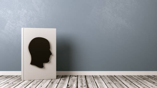 Book with Human Head Shape on Wooden Floor, Biography Concept White Book Upright with Human Head Shape on the Cover on Wooden Floor Against Grey Wall with Copyspace 3D Illustration, Biography Concept libro stock pictures, royalty-free photos & images