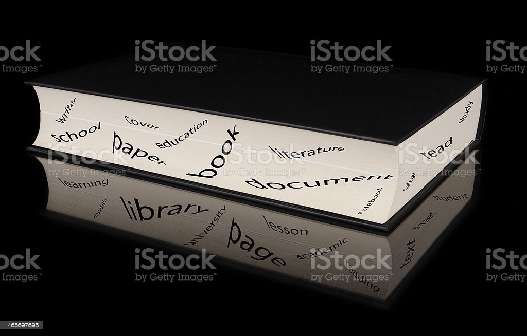 Book with reflection and study related concept words royalty-free stock photo