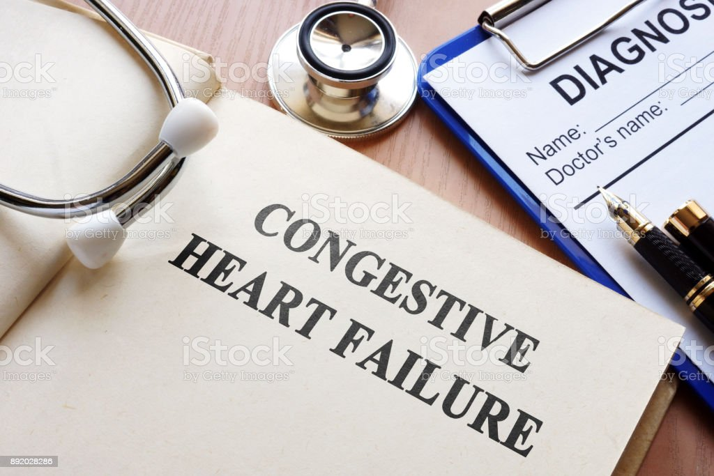 Book with title congestive heart failure. stock photo
