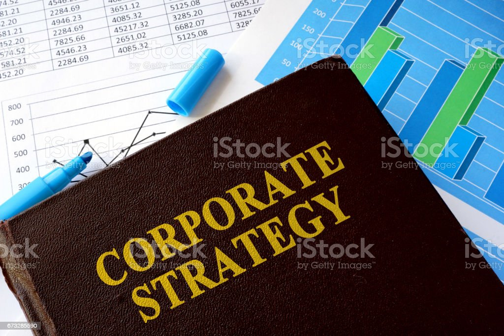 Book with title corporate strategy and financial data. royalty-free stock photo