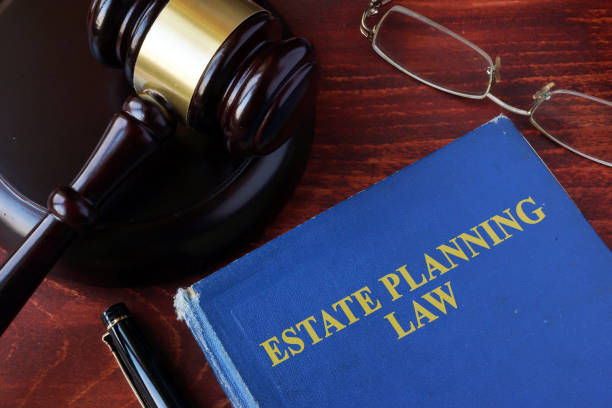 book with title estate planning law and a gavel. - stately home stock photos and pictures
