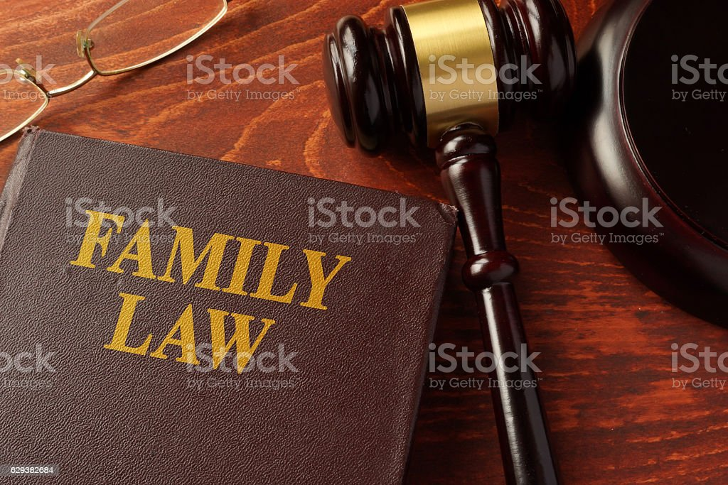 Book with title family law on a table. stock photo