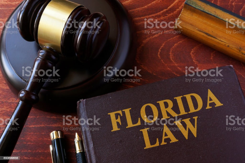 Book with title Florida law and a gavel. stock photo