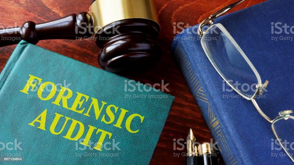 Book with title Forensic audit and gavel. stock photo