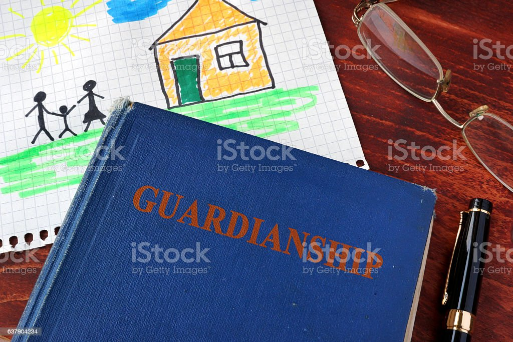 Book with title Guardianships and children's picture. stock photo