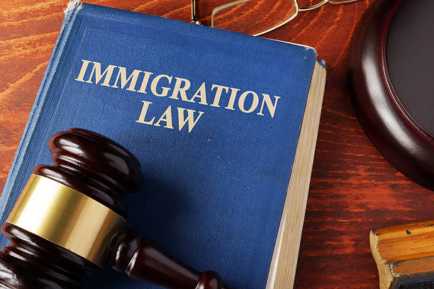 Book with title immigration law on a table. Book with title immigration law on a table. deportation stock pictures, royalty-free photos & images