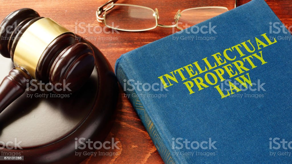 Book with title Intellectual Property Law. stock photo