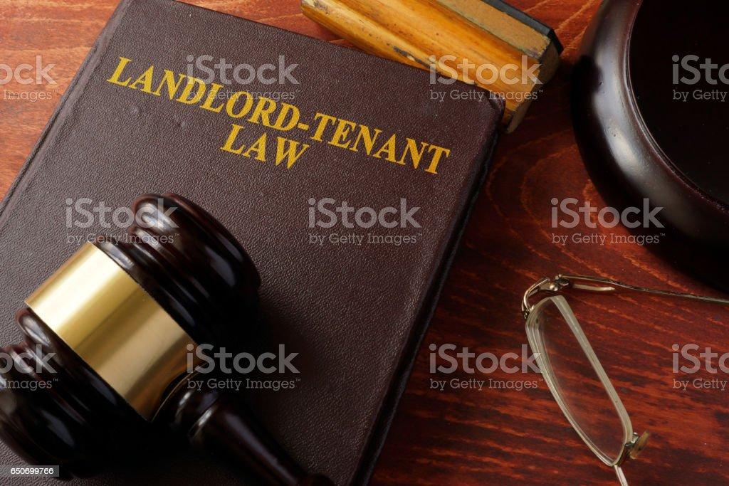 Livre avec le titre de propriétaire-locataire droit et un marteau. - Photo