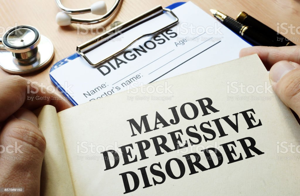 Book with title Major depressive disorder. stock photo