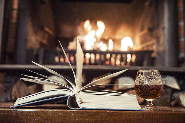 book with whisky in front of a fireplace - grillbuch stock-fotos und bilder
