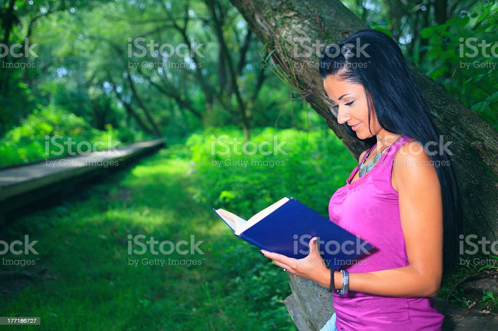 Book Woman - Forest royalty-free stock photo