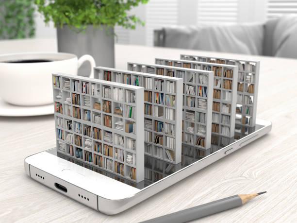 librería con libros en la pantalla de un smartphone en un escritorio. biblioteca electrónica en un teléfono móvil. educación a distancia y autoestudio. libros en línea. representación 3d conceptual creativa. - biblioteca fotografías e imágenes de stock