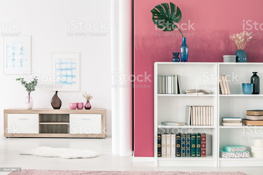 Bookcases In Living Room Stock Photo & More Pictures of Apartment ...