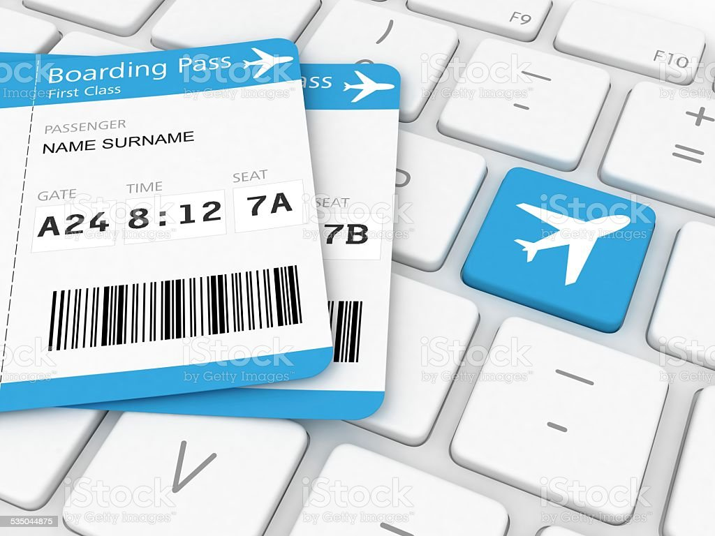 Booking Airline Tickets stock photo