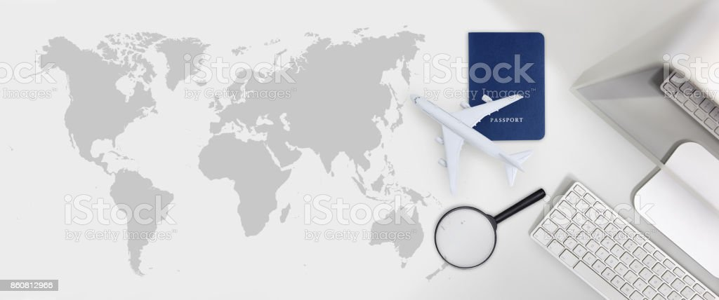 booking and search flight ticket air travel trip vacation concept, banner web template stock photo